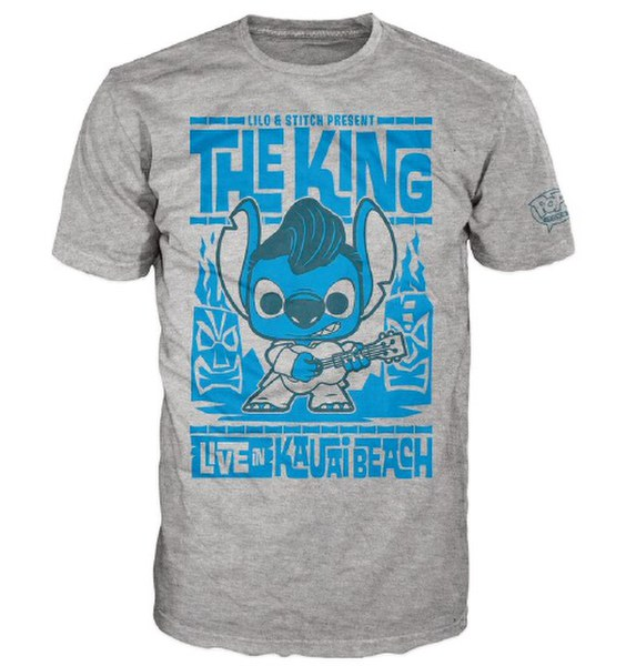 Disney Lilo And Stitch Elvis Stitch Pop! T-Shirt - Grey
