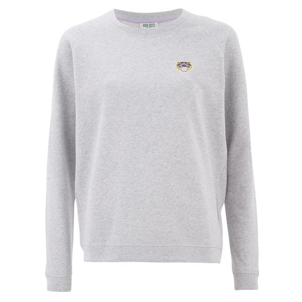 KENZO Women's Brushed Molleton Small Tiger Sweatshirt - Pale Grey