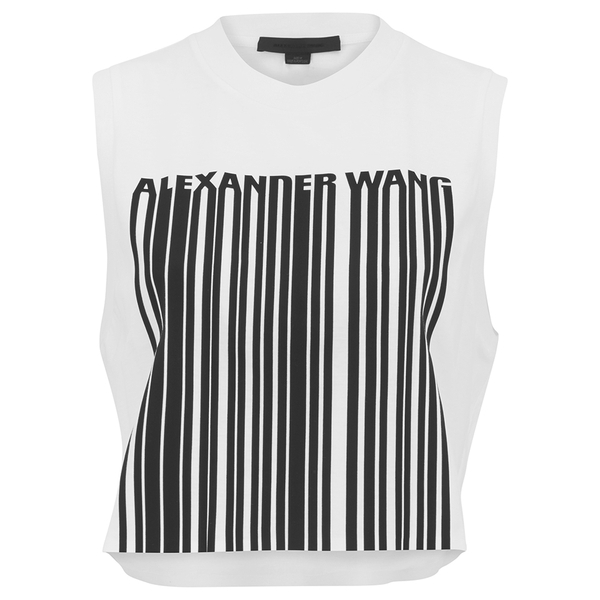Alexander Wang Women's Cropped Logo Barcode Tank Top - Silica And Onyx