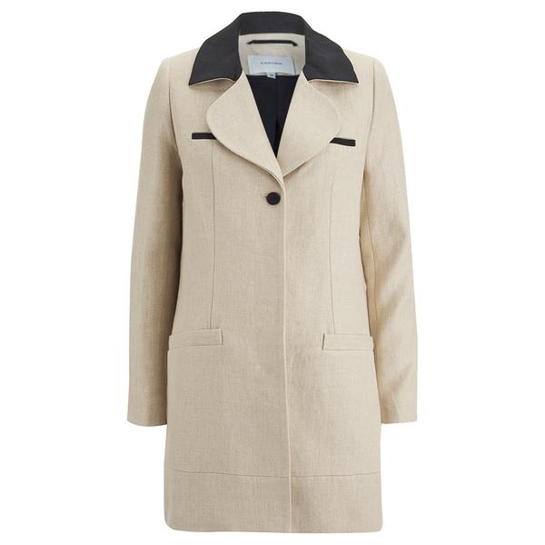 Carven Women's Linen Coat - Beige