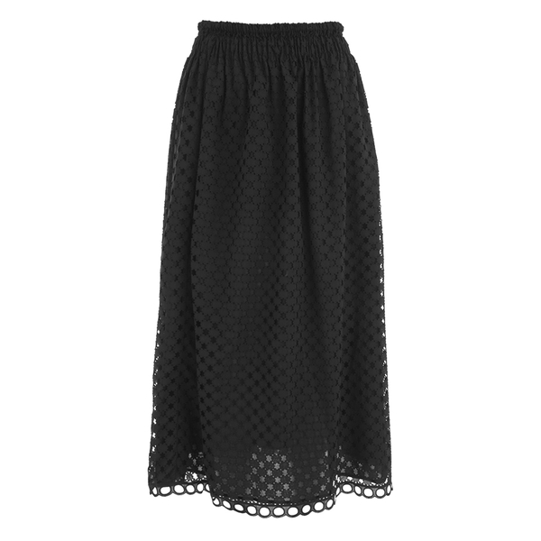 Carven Women's Laser Cut Long Skirt - Black