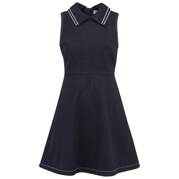 REDValentino Women's Collar Denim Dress - Blue