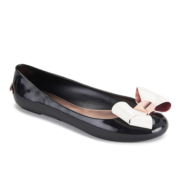 11a99b016e3768 Ted Baker Women s Faiyte Jelly Bow Ballet Pumps - Black Cream  Image 2