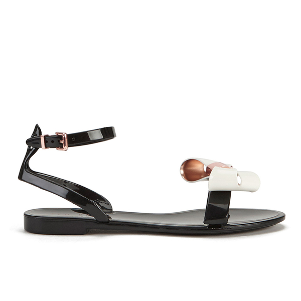 6741a49df Ted Baker Women S Louwla Jelly Bow Ankle Strap Sandals Black Cream