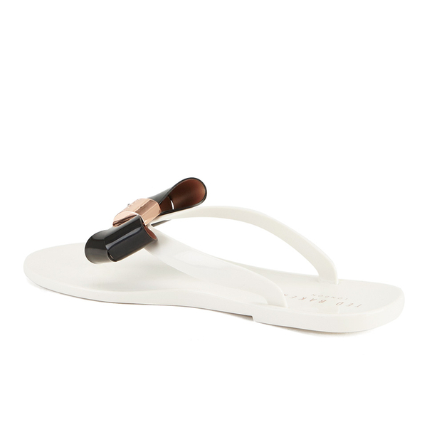 4a33839c770a Ted Baker Women s Ettiea Jelly Bow Flip Flops - Cream Black  Image 4