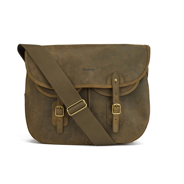Barbour Men S Laird Leather Tarras Messenger Bag Olive Image 1