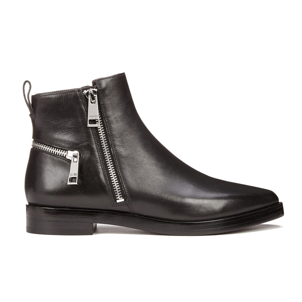 KENZO Women's Totem Flat Zip Leather Ankle Boots - Black: Image 1