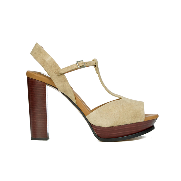 See By Chloé Women's Suede Platform T Bar Heeled Sandals - Beige