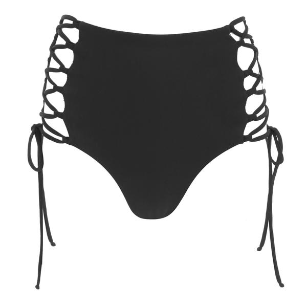 Mara Hoffman Women's Reversible Lace Up High Waisted Bikini Bottoms - Black