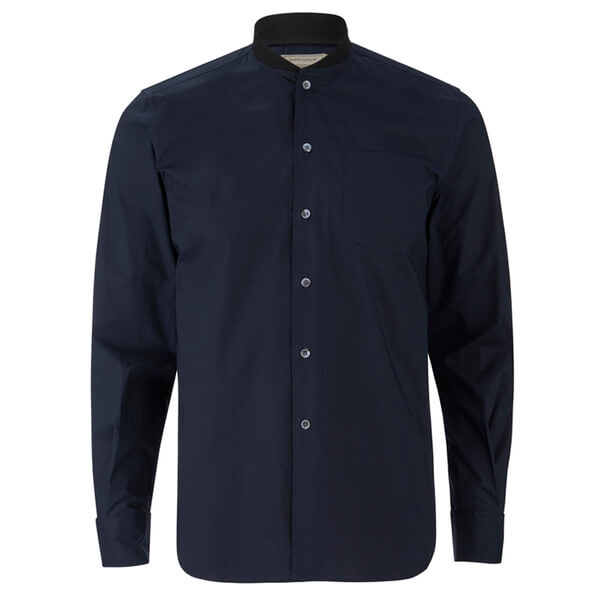 Maison Kitsuné Men's Rib James Long Sleeve Shirt - Dark Navy
