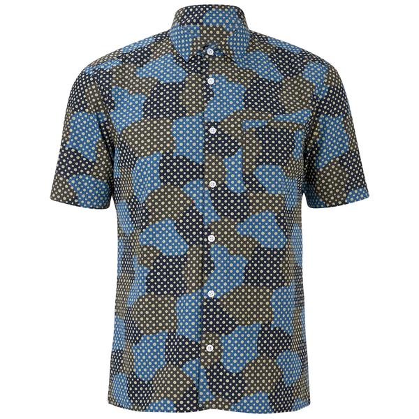 YMC Men's Spot Cloud Short Sleeve Shirt - Blue