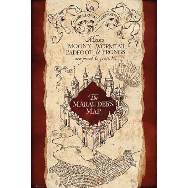 Harry Potter Marauders Map - 24 x 36 Inches Maxi Poster Merchandise on illuminati map, erik the red map, wicked map, ajax map, legion map, avengers map, zodiac map, logistics map, civilization map, vikings map, prism map, black ops map, stars map, random map, apocalypse map, love map, cubs map, hogwarts map, terra nova map, excalibur map,