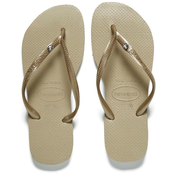 Havaianas Women's Slim Swarovski Crystal Glamour Flip Flops - Sandy Grey/Light Gold