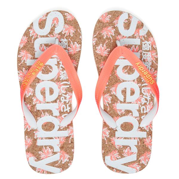 Superdry Women's Printed Cork Flip Flops - Fluro/Coral Palm Print