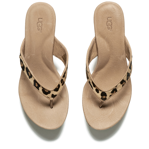d4e96e489612 UGG Women's Natassia Calf Hair Leopard Wedged Sandals - Chestnut Leopard:  Image 2