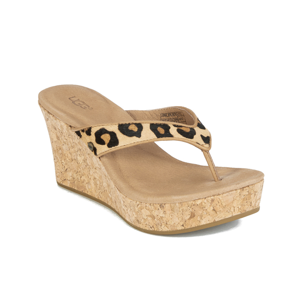 1b01cc2c17df UGG Women's Natassia Calf Hair Leopard Wedged Sandals - Chestnut Leopard:  Image 5