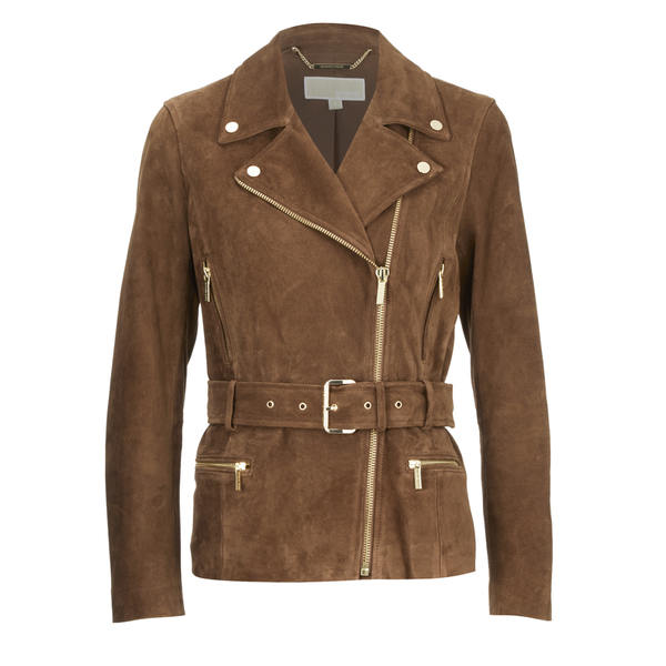 MICHAEL MICHAEL KORS Women's Belted Suede Jacket - Caramel