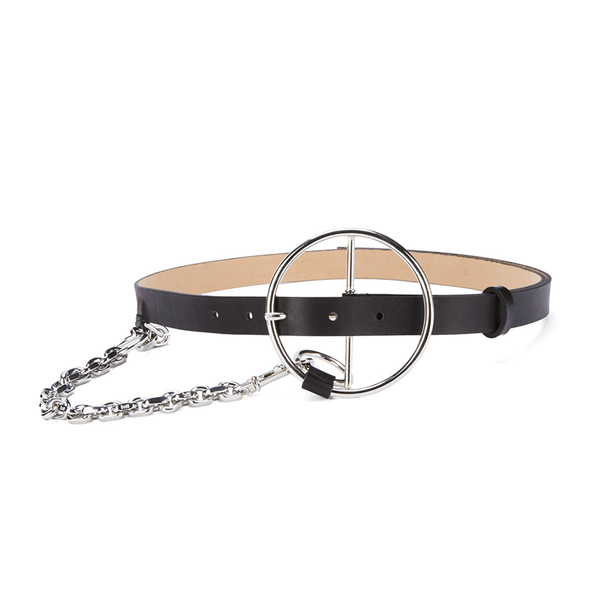 McQ Alexander McQueen Women's Circle Buckle Slim Belt - Black
