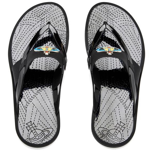 a64de18eae1 Vivienne Westwood MAN Men's Enamelled Orb Flip Flops - Graphite Black:  Image 1