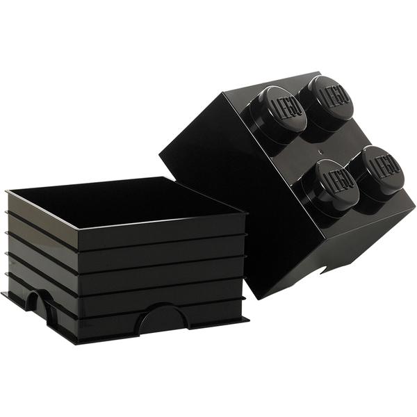 brique de rangement lego noire 4 tenons my geek box. Black Bedroom Furniture Sets. Home Design Ideas