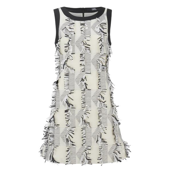 Karl Lagerfeld Women's Fringed Karl Jacquard Dress - White