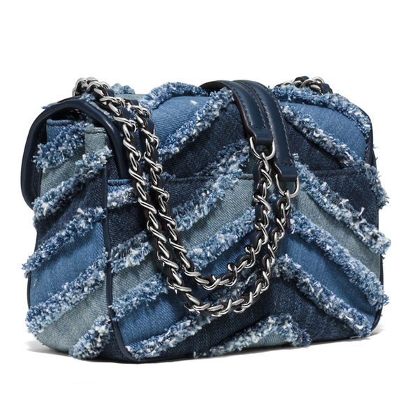 1723b9788664a6 MICHAEL MICHAEL KORS Women's Sloan Small Denim Crossbody Bag - Multi/Blue:  Image 3