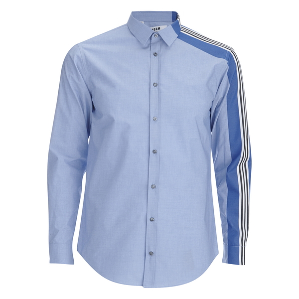 MSGM Men's Side Stripe Shirt - Blue