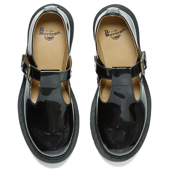 dr martens s polley patent ler t bar flat shoes