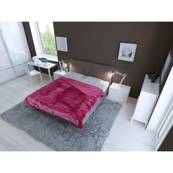 Plaid Luxueux en Fausse Fourrure Dreamscene - Rose Fuchsia