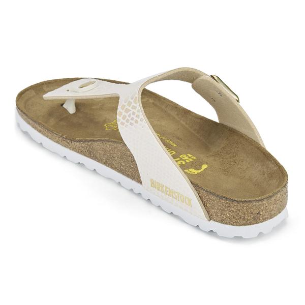 12de5eda4e5 Birkenstock Women s Gizeh Shiny Snake Toe-Post Sandals - Cream  Image 4