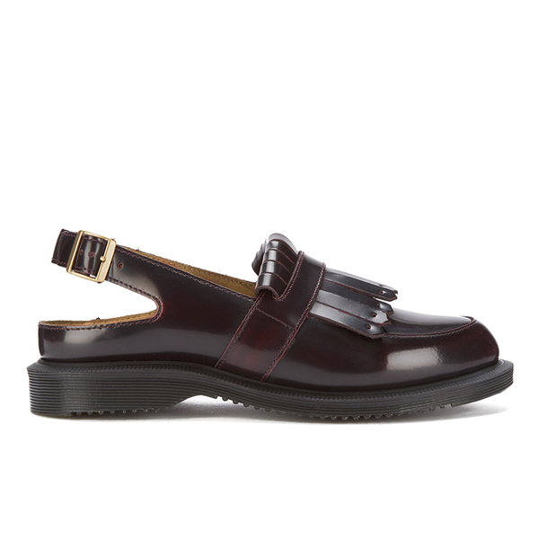Dr. Martens Women's Kensington Valentine Arcadia Leather Sling Back Tassel  Loafers - Cherry Red: