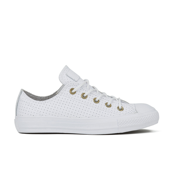 45551297d525 Converse Women s Chuck Taylor All Star Perforated Leather Ox Trainers -  White Biscuit  Image