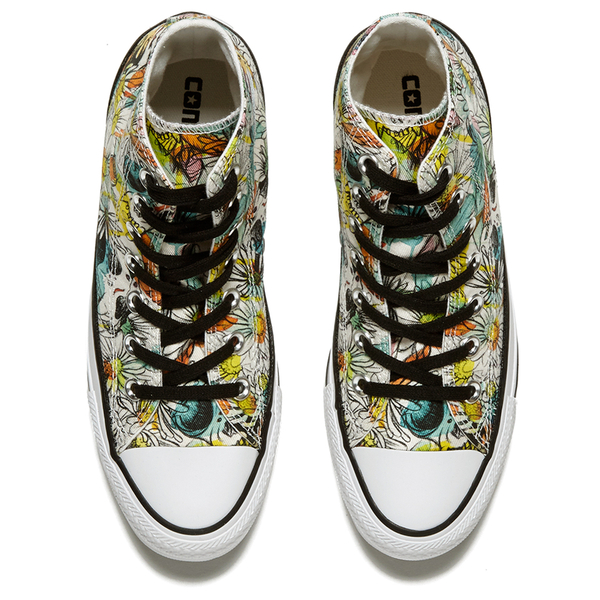 3dce30ce982400 Converse Women s Chuck Taylor All Star Daisy Print Hi-Top Trainers - Black  Rebel