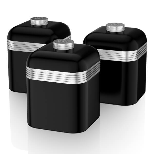 Swan SWKA1020BN Retro Set of 3 Canisters - Black