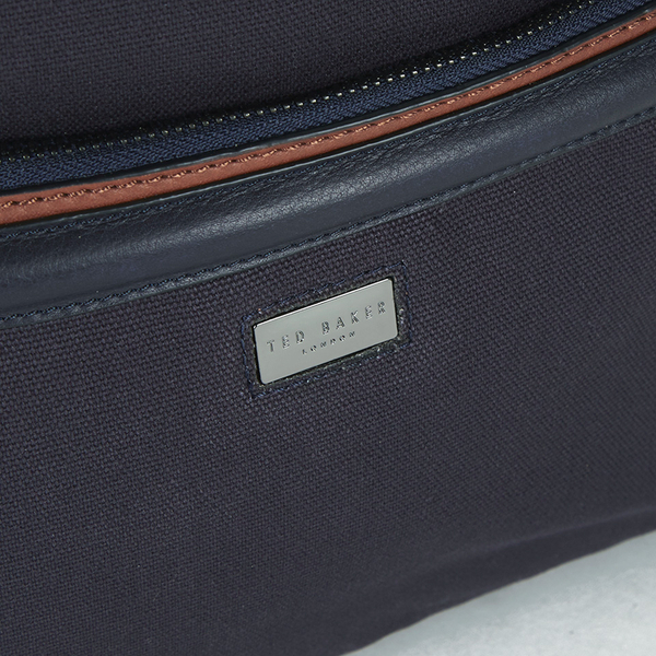 9051bb1bdeba8 Ted Baker Men s Brandor Canvas and Leather Backpack - Navy  Image 3