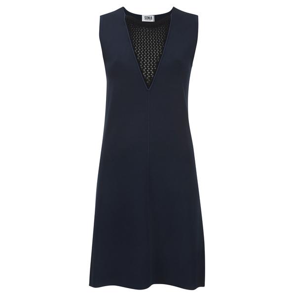 Sonia by Sonia Rykiel Women's Fishnet V-Neck Dress - Navy/Black
