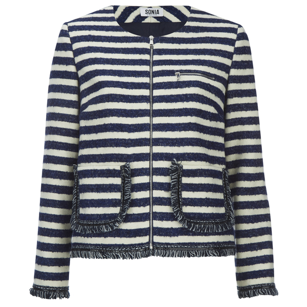Sonia by Sonia Rykiel Women's Tweed Striped Jacket - Navy/Ecru