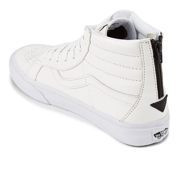 56d08fb5030076 Vans Men s Sk8-Hi Reissue Zip Premium Leather Trainers - True White Black