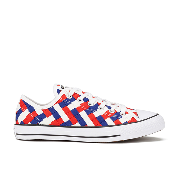 Converse Men's Chuck Taylor All Star Woven Canvas OX Trainers - White/Clematis Blue/Red