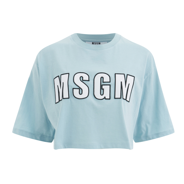 MSGM Women's Logo Cropped T-Shirt - Blue