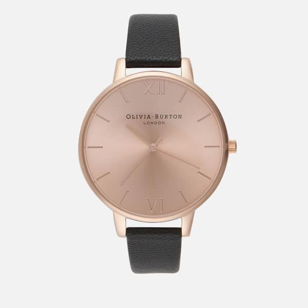 Olivia Burton Women's Big Dial Watch - Black/Rose Gold