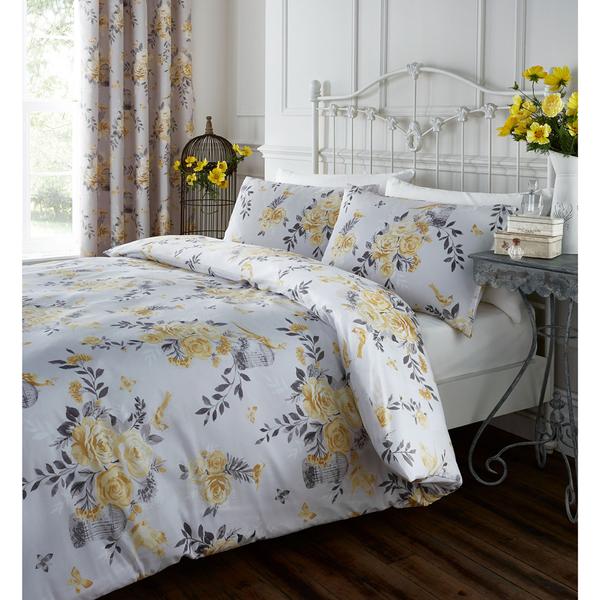 Catherine Lansfield Birdcage Blossom Bedding Set Ochre