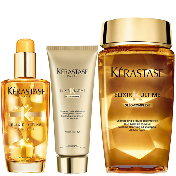 Kérastase Elixir Ultime Huile Lavante Bain 250 ml, Elixir Ultime Fondant Conditioner 200 ml og Original Hair Oil 100 ml pakke