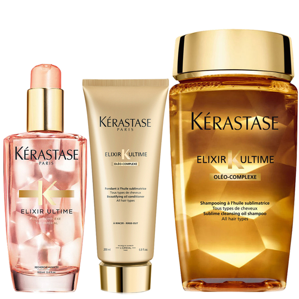 Kérastase Elixir Ultime Huile Lavante Bain 250ml, Fondant Conditioner 200ml and Coloured Hair Oil 100ml Bundle