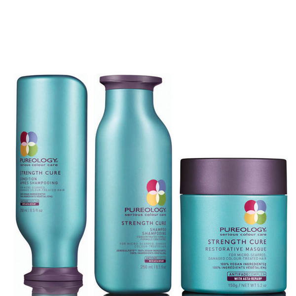 Pureology Strength Cure Shampoo, Conditioner (250ml) and Mask (150g)