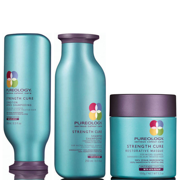 Pureology Strength Cure Shampoo, Conditioner (250ml) and Mask (150ml)
