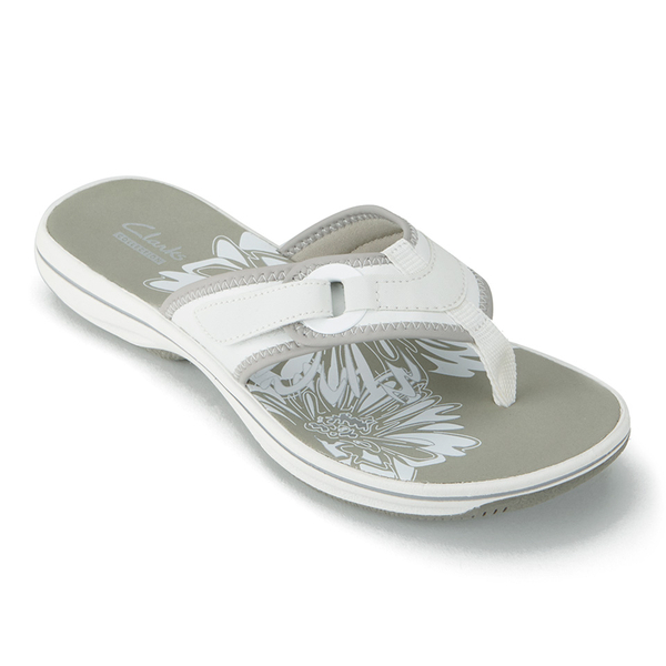 Clarks Women's Brinkley Mila Toe Post Sandals - White: Image 4