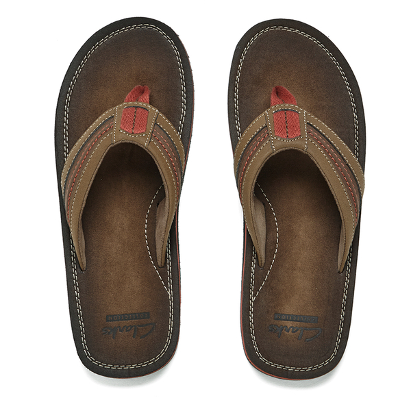 cb99a67fa06c49 Clarks Men s Riverway Sun Toe-Post Sandals - Brown  Image 1