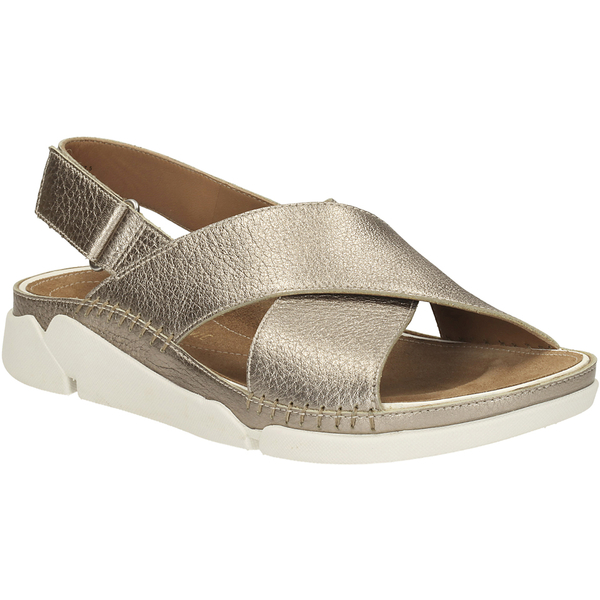 Clarks Womens Tri Alexia Cross Front Leather Sandals Gold Image 2