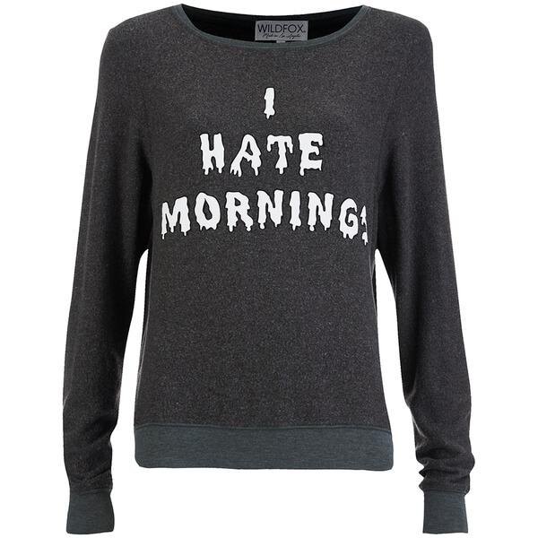 Wildfox Women's I Hate Mornings Baggy Beach Jumper - Dirty Black